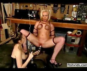 Blonde slave pleasured with sex toys