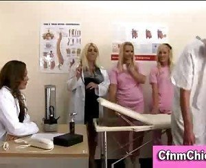 Cfnm nurses give humiliating group handjob