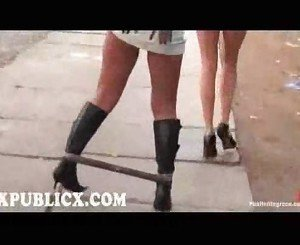 Bound blonde walked in public