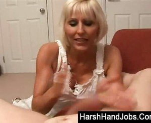 Jan burton gives a harsh handjob
