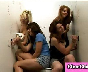 Cfnm chicks give handjobs at a gloryhole