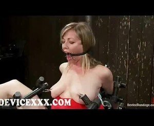 Bound blonde pussy vibrated