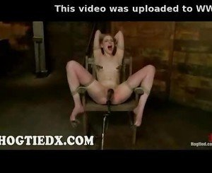 Hogtied in chair pussy toyed and electro shocked