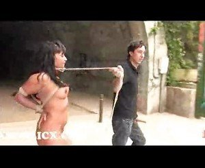 Bound dunia montenegro sucks and fucks in public