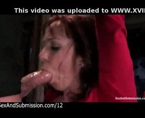 Babe with bound wrists gets fucked
