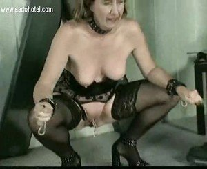 Master put clamps of horny granny slave her cunt and pussy l