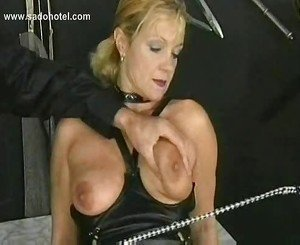Hot and horny slave with nice tits got spanked on her pussy