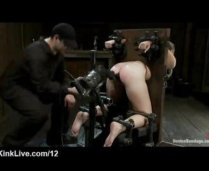 Brunette bound in wooden strappado device