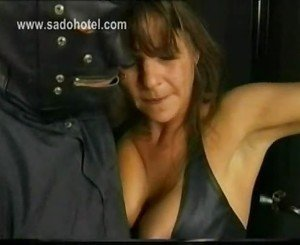 Horny slave wearing leather got large metal clamps on her bi