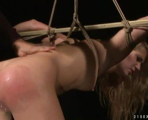 Hot blonde getting bondaged and punished
