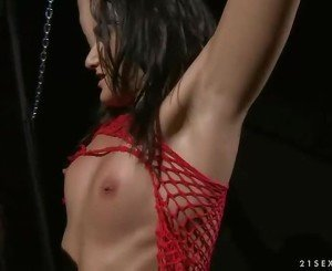 Sexy brunette getting punished