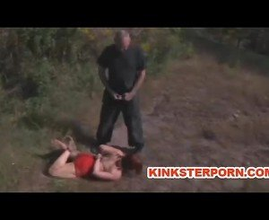 MILF BDSM Slave Catherine de Sade is Outdoor Humiliated in Bondage