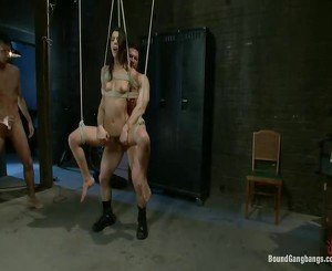 Tied up babe gangbang with double big cock