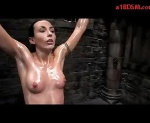 Girl Hanging With Tied Legs Whipped Tickled Pussy Stimulated With Jet By Master In The Dungeon