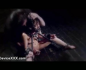Extreme bdsm babe in different positions pussy vibed and zippered
