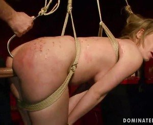 Naughty blonde getting bondaged and fucked