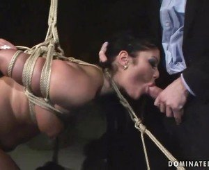 Brunette getting tied up and fucked hard