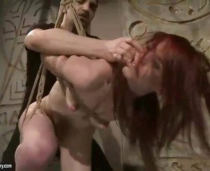 Redhead getting punished and fucked