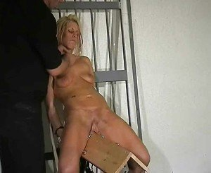 Wooden Horse Pussy Torture In Prison of Blonde Fem