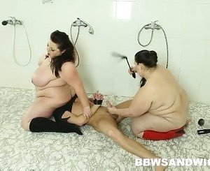 Cruel BBW bitches torturing a guy in the public shower