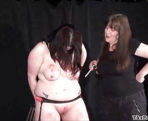 Brutal lesbian bdsm and extreme spanking of bbw