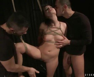 Girl gets tied up and fucked by two guys