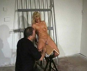 Wooden Horse Torture of screaming blonde Crystel