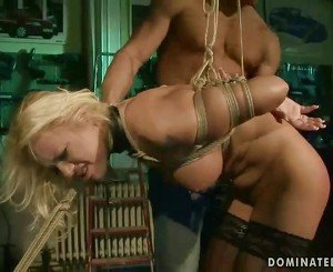 Hot brunette gets tied up and fucked rough