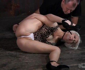 Tied up chick is punished by master for her sins