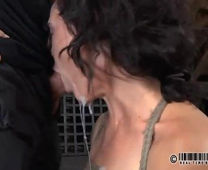 Worthless whore is made to pleasure her pussy