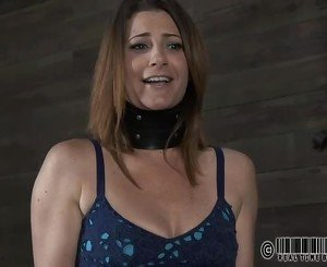 Tough beauty is hoisted up and given pussy torture