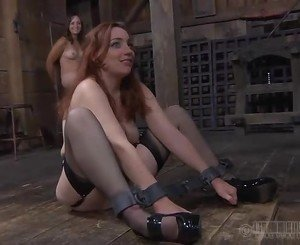 Tied up babe is punished by master for her sins