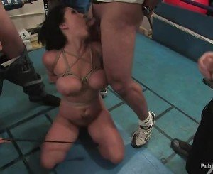 Explicit group tormenting for a busty sweet serf