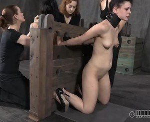 Gagged beauty with clamped teats gets pleasure