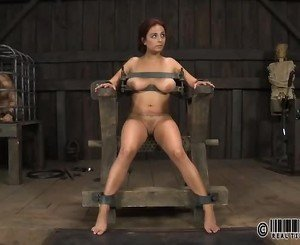 Gagged beauty gets violent whipping on her tits