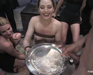 Slave receives a group punishment for her twat