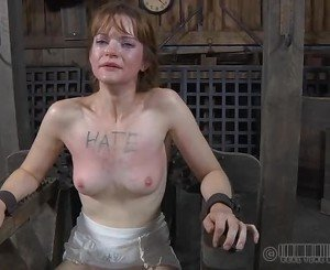 Tied up slave receives pleasuring her pussy