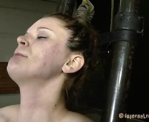 Nude and gagged playgirl receives muff pleasuring