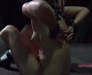 Gal gets hardcore clamping for her huge racks