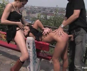 Stunning bitch is abused sexually in public