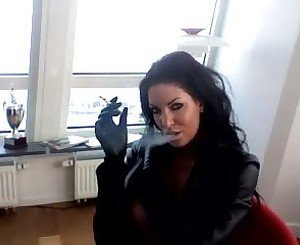 Smoking Brunette - Leather Jacket, Free Porn 1a: