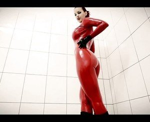 Red Latex Catsuit: Free BDSM HD Porn Video 8a -