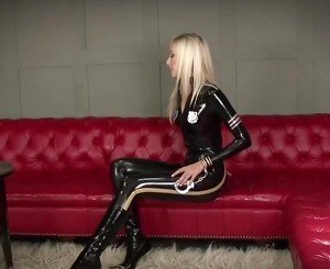 Sexy Blonde Black Latex Police Catsuit, Porn 4b: