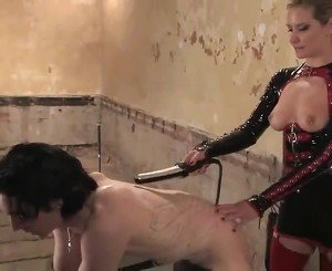 Blonde In Latex Outfit Maitresse Madeline Pegging And Snapping A Chap