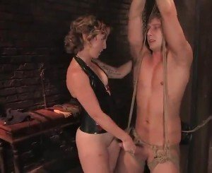 Dominated Constrained Up Bloke Strapon Bumped Till Doggystyle Sex Involving Tina Horn