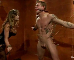 Bound Bloke Having Strapon Shaged By Sensuous Blonde  In Babe Domination Sadism Vid