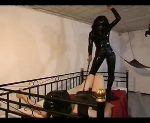 Hot Dominatrix Whipping Her Bondman