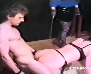 Male slave forced to eat his own cum