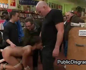 Adorable black ass fucked in bookstore