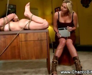Hogtied slave gets some electrosex